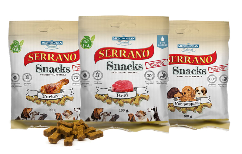 SERRANO Snacks Лакомство для Собак снеки из Говядины 100 гр. (шб=12шт)